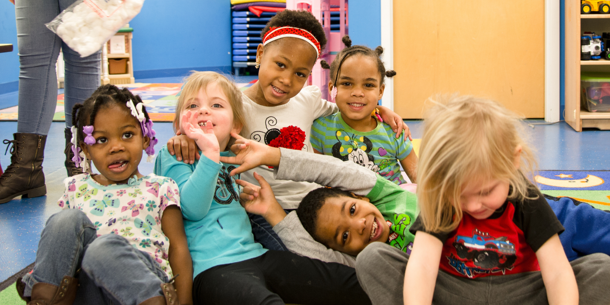 Group of children learning together
